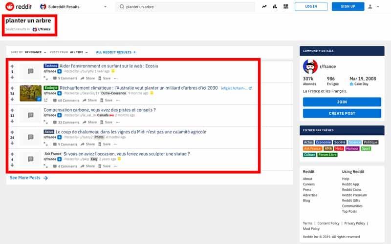 Chercher les sujets sur reddit