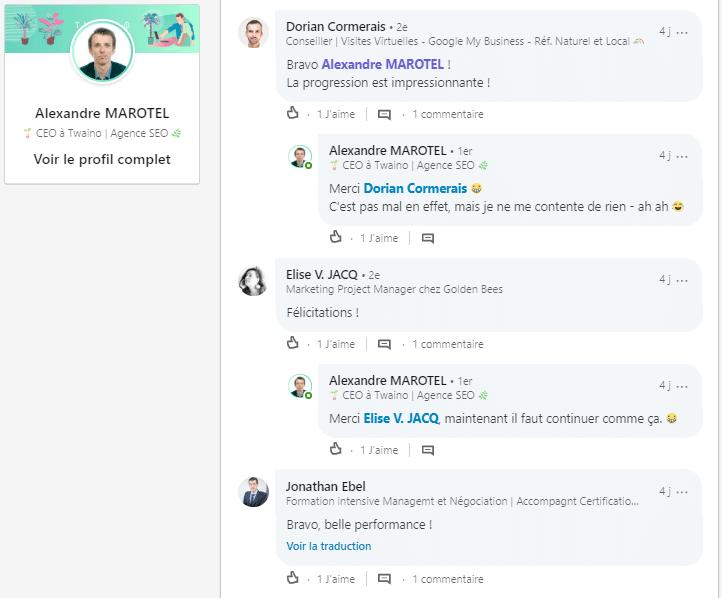 Commentaires sur linkedin