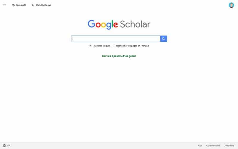 Faire des recherche sur Google Scholar