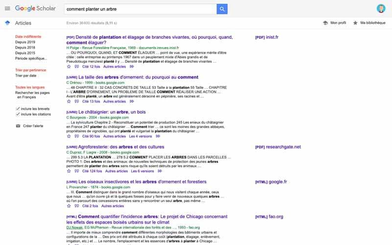 Comment planter un arbre Google Scholar