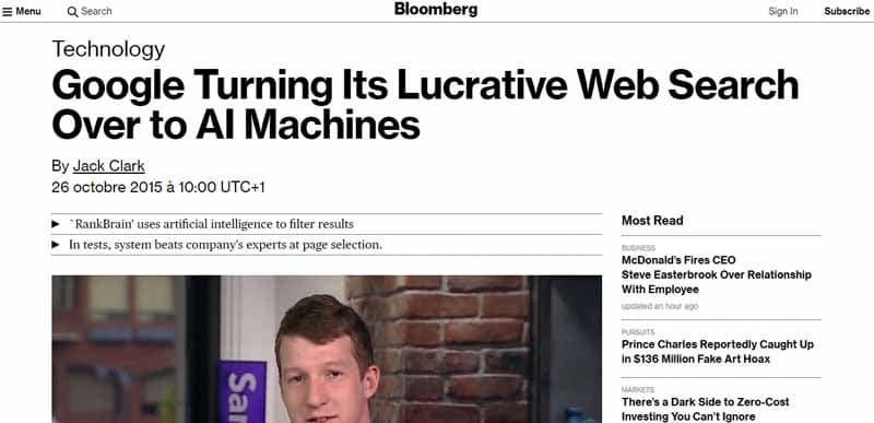 Lancement de RankBrain sur Bloomberg
