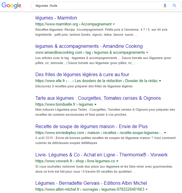 Syntaxe Google Taper légumes moins fruits