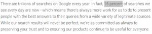 15 pourcents des requetes de Google sont inconnues