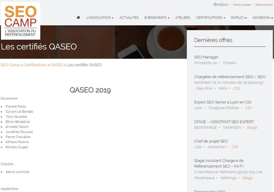 Page des certifies QASEO