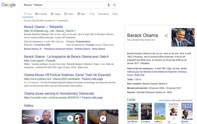 Utiliser operateur etoile Google