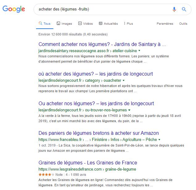 Opérateurs Google parenthese et soustraction