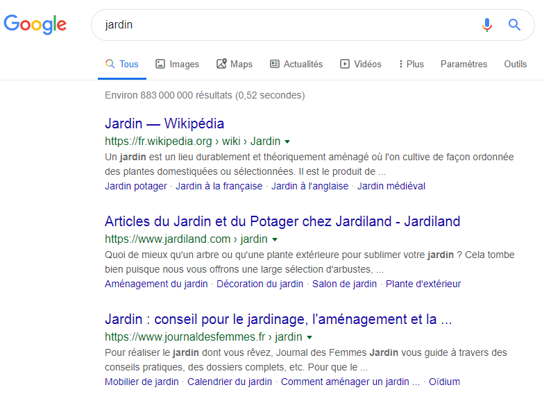 Syntaxe Google Taper jardin dans Google