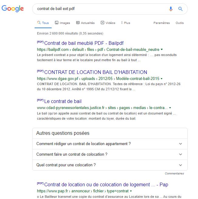 Ext PDF Google Syntaxe