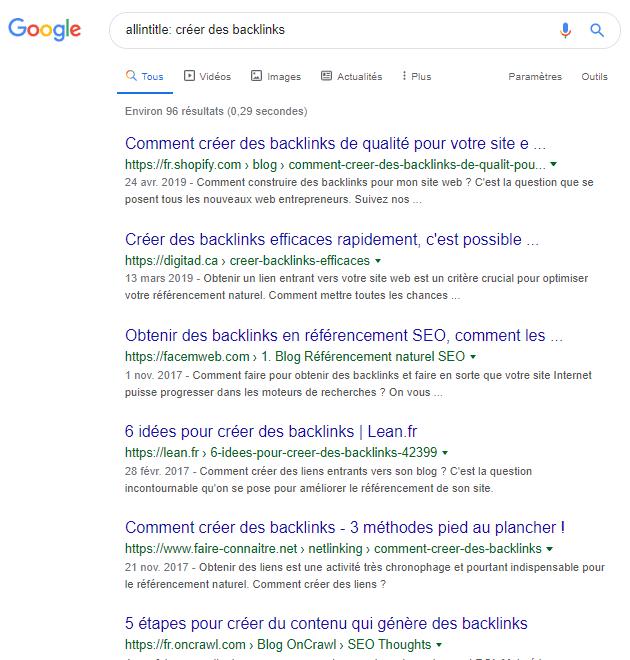 Allintitle operateur google