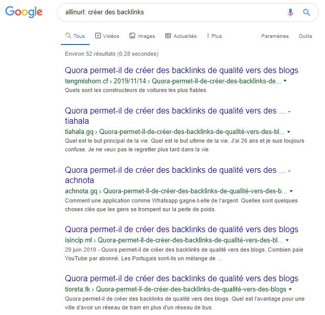 Allinurl operateur google