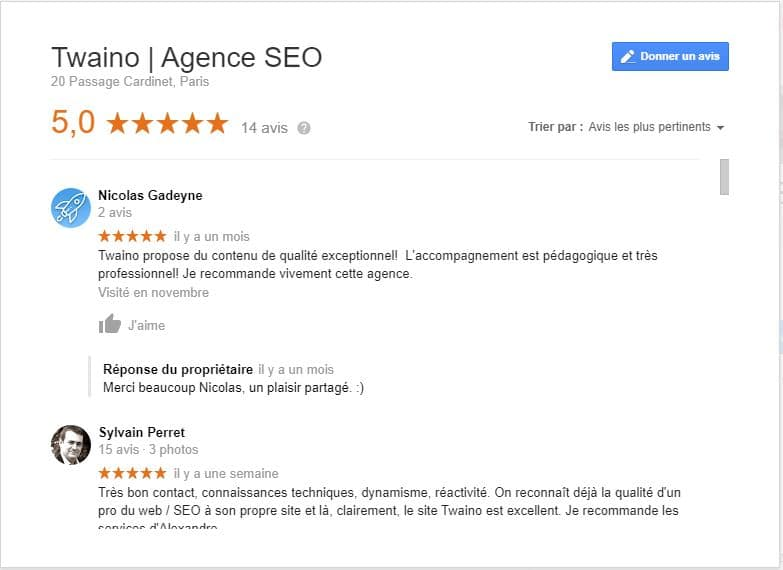 Avis des clients de twaino sur Google my business