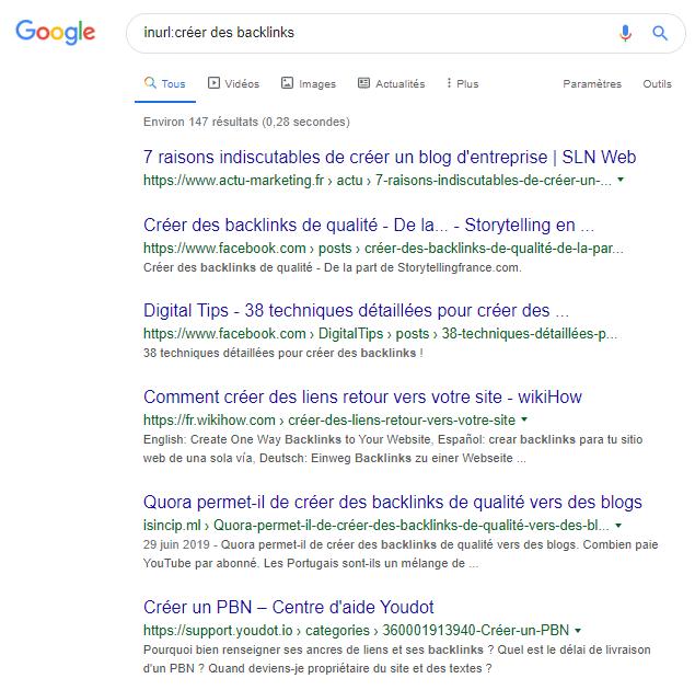 Allinurl Google syntaxe