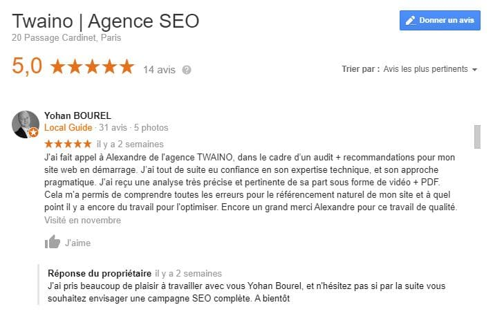 Avis des clients de twaino sur Google My Business bis