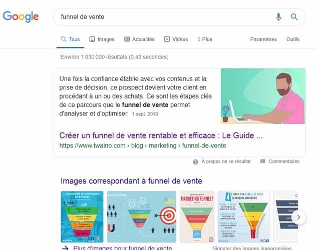 Article de twaino dans le featured snippet