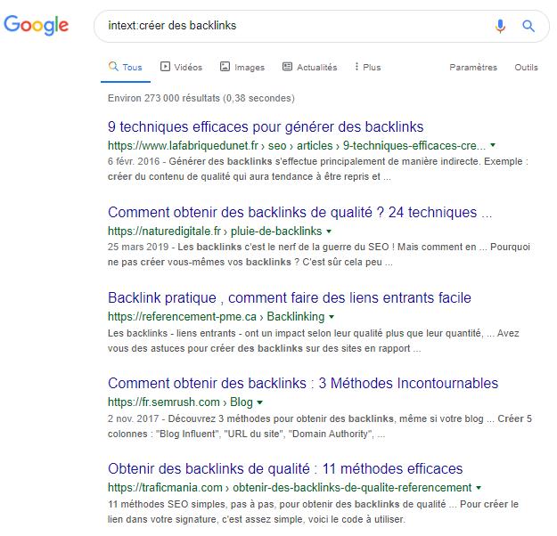 Intext Operateur google