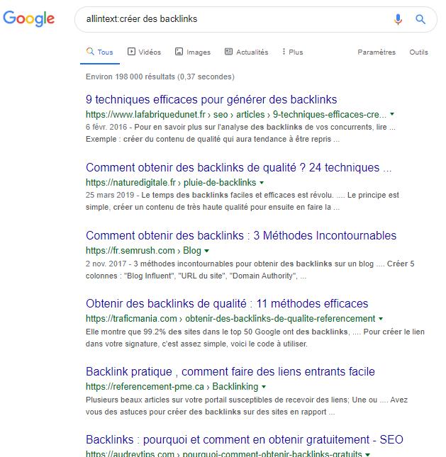 Allintext Google syntaxe