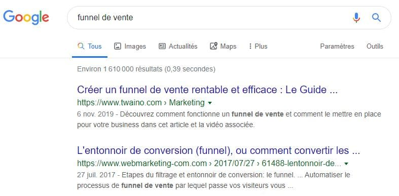 Plus de featured snippet pour la requete funnel de vente