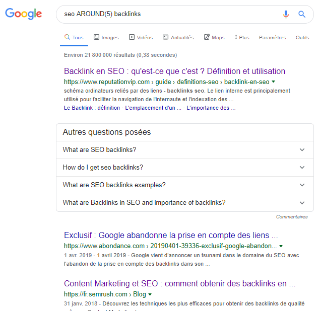 Around google operator