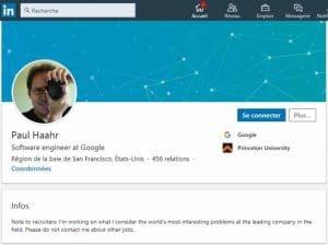 Profil LinkedIn Paul Haahr
