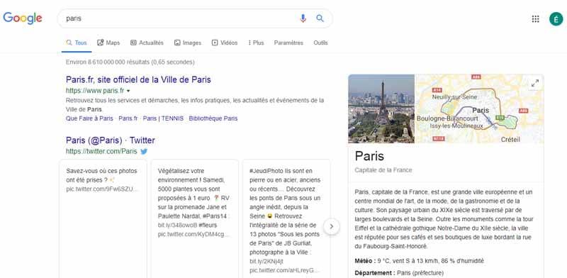 Taper Paris dans Google