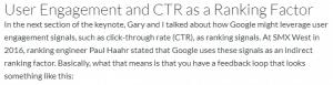 Paul Haahr indique que Google utilise le CTR comme facteur de classement indirect
