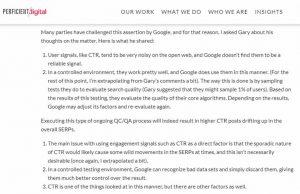 Google utilise le CTR comme signal de classement