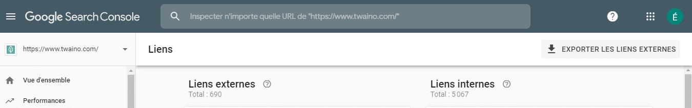 Nombre de liens Google search console