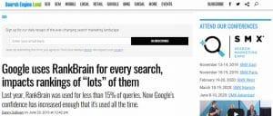Google utilise RankBrain pour traiter toutes les requetes et il presente un impact sur le classement