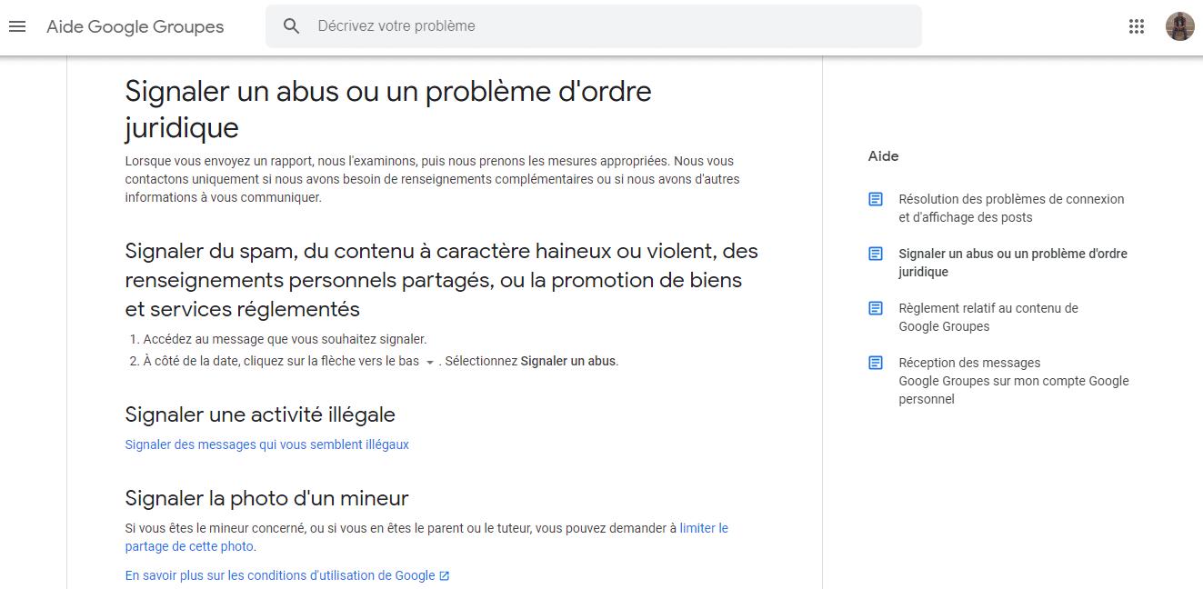 Signaler un abus a Google