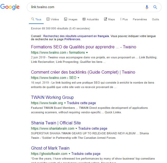 Link Google Syntaxe
