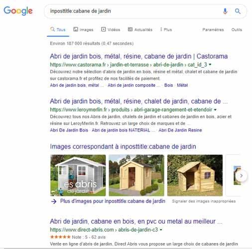 Impostitle Google operateur