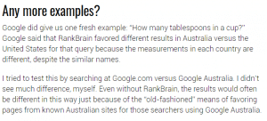 RankBrain pourrait considere la localisation pour proposer des resultats