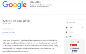 Caffeine l algorithme de Google pour mesurer la fraicheur des contenus