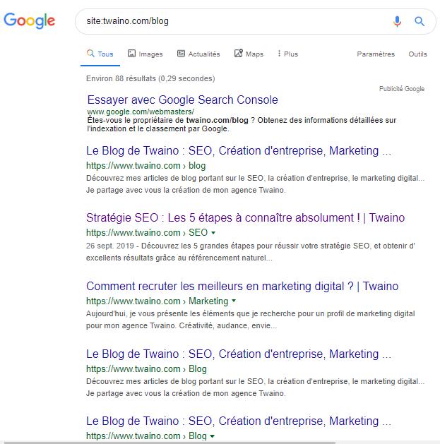 Google syntaxe pour le blog