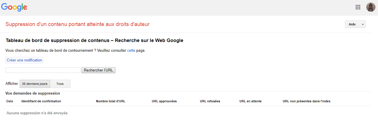 DCMA Suppression de contenu sur Google