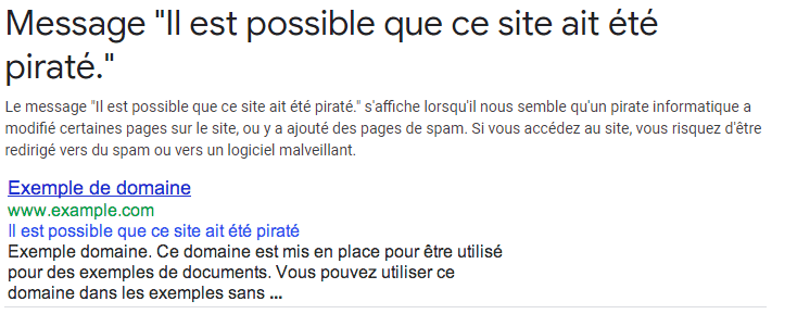Message de Google site pirate