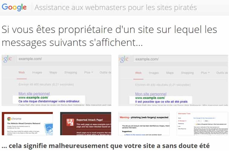 Assistance Google pour site web pirate