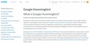 Article de Moz sur Hummingbird