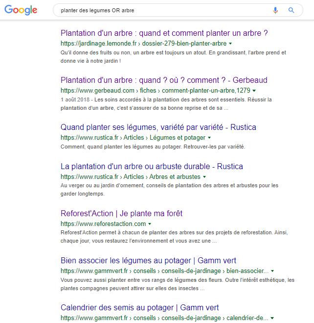 Syntaxe Google Planter des légumes or arbre
