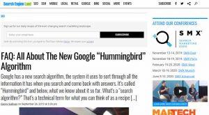 FAQ sur Hummingbird de Search Engine Land
