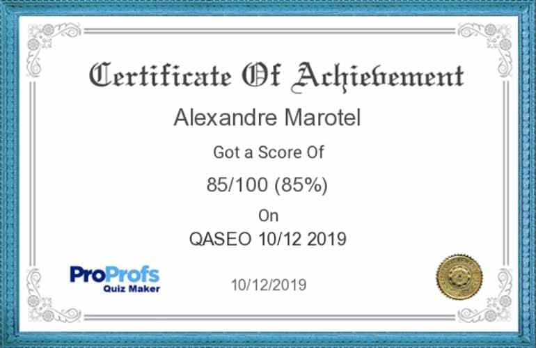 Certificat Qaseo Alexandre MAROTEL
