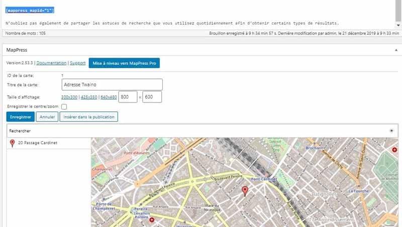 Inserer la carte dans l editeur avec le plugin MapPress