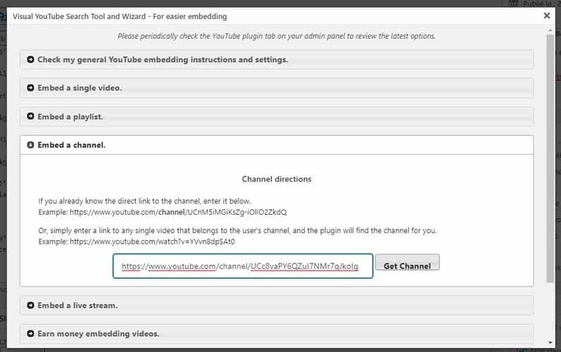 Coller le lien de la chaine a integrer avec le Plugin YouTube Embed