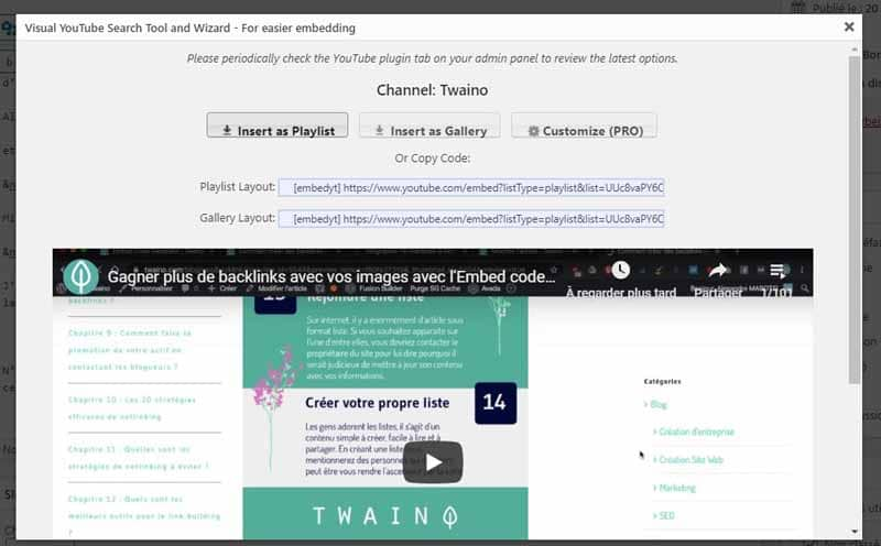 Regler l apercu de la chaine a integrer avec le Plugin YouTube Embed