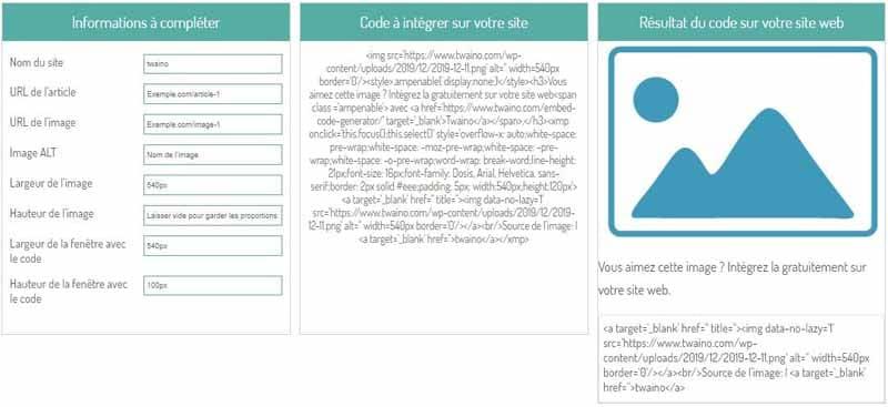 Entrer le nom du site pour generer un code embed