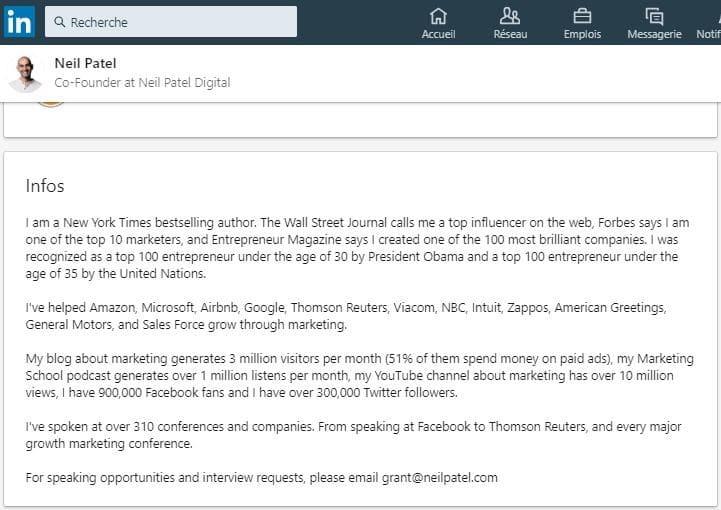 Profil Linkedin de Neil Patel