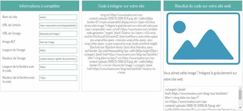 Entrer URL de la page de l image pour generer un code embed