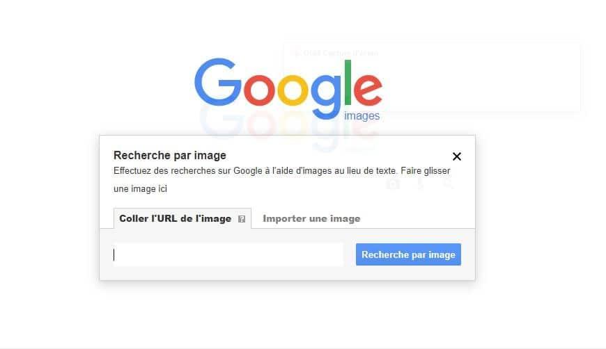Coller l URL de l image dans Google Images