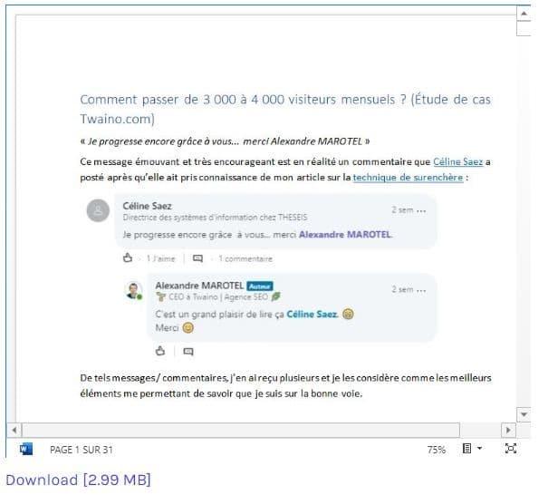 Aperçu Microsoft du document integrer dans votre article