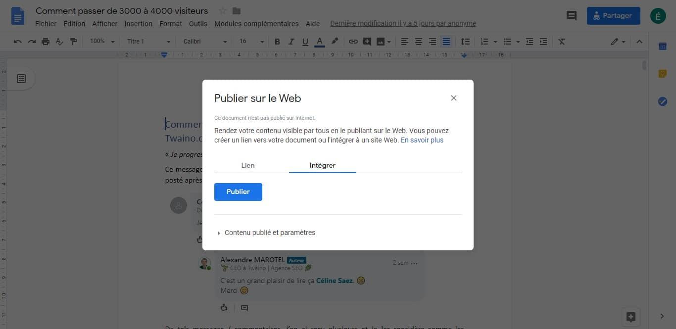 Integrer un Google Doc dans votre article 2